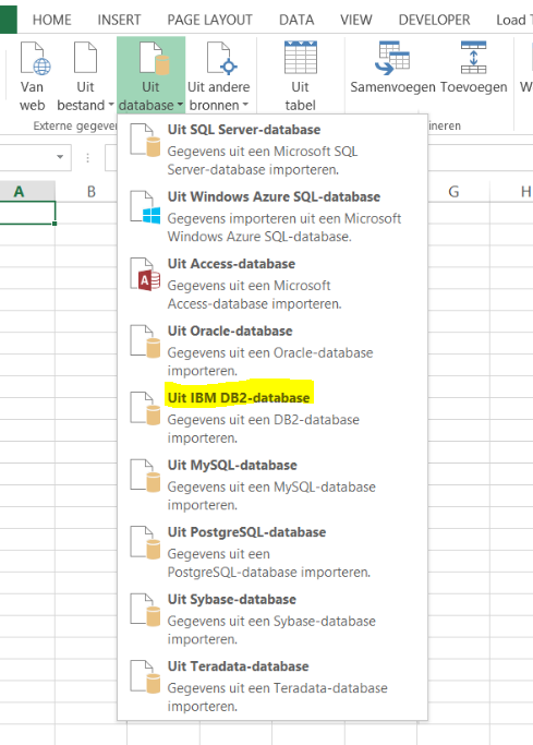 connect to an ibm db2 database power query excel simple